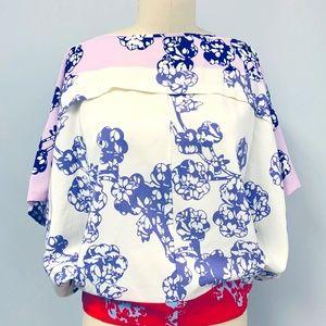 Diane Von Furstenberg Silk Floral Landy Dolman Top